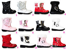 Girls Infant Winter Boots Fur Padded Buckle Trim Zip & Velcro Diamante Size 3-7