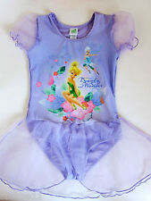 New Girl Disney Fairies TinkerBell Tutu Leotard Ballet Dance Dresses Purple 4-6T
