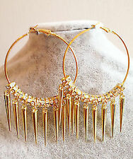 Gold Hoops Basketball Wives Earrings + Rhinestone + Spikes! POPARAZZI!!