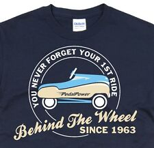 Vintage Toy Car Birthday T-Shirt Funny Retro nostalgic Blue Pedal Car Size