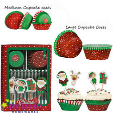 Christmas cupcake Medium Large Cases or Christmas Cupcake Cases And Toppers Set