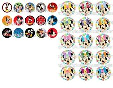 "15, 50 PreCut BottleCaps Mickey n Minnie Mouse 1 "" Images Disney dots red swirl"