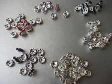 6MM RHINESTONE CRYSTAL SPACER BEADS, SPARKING DESIGN,CHOSE 5 OR 10 & COLOUR