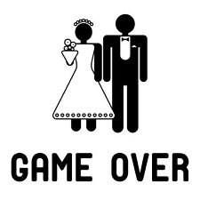 Stag Hen Funny Sign Vinyl Wall Art Sticker Party Weekend Marriage Game Over Fun
