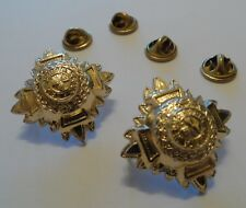 Gold Stars, Anodised, Metal, Pips, Army, Pair, Rank Badge, Various Sizes, New