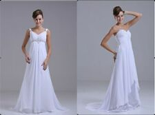 White/Ivory Chiffon Beach Wedding Dress Bridal Gown Stock Size6/8/10/12/14/16/18