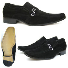 Mens Formal Loafers, Black Suede Look, Casual & Smart Office Shoes UK 6 - 11 New