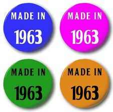 "MADE IN 1963 - 25mm 1"" Button Badge, Various Colours, 50th Birthday Sixties 60's"