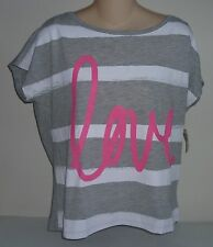 Womens AEROPOSTALE Striped Love Boxy Fashion Heart Graphic T Shirt NWT #3657