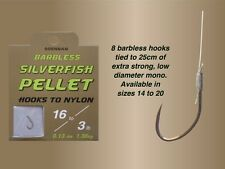 New Drennan Barbless Silverfish Pellet Hooks to Nylon For Coarse Fishing
