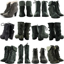 NEW LADIES HIGH HEEL RIDING MILITARY ARMY COMBAT BIKER LONG BOOTS WOMENS SHOES