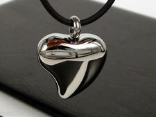 Plain Heart Steel Urn Pendant Necklace Keepsake Jewelry Ash Holder +Funnel