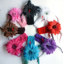 TH Crochet Headbands with Feather flower hair bow Headband baby girl more color