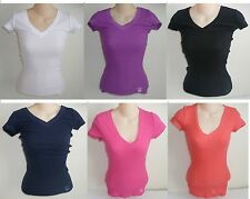 Womens AEROPOSTALE Solid Ribbed V-Neck Tee Thermal T-Shirt NWT #6006