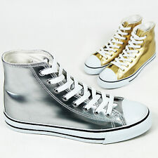 Mens Gold Silver Shiny Solid High Top Sneakers / Man Glam Hi Top Trainers