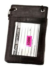 4 Choices Leather Neck Strap ID Badge Card Holder Pouch Wallet Tag Press Pass