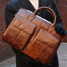 BELIVUS SSB033 POCKET briefcase/ high quality buffalo leather bag/ Browns_M