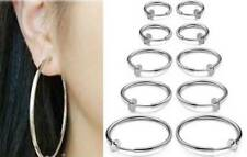 "1 Pair Spring ClipOn Hoop Earrings Silvertone Small:1/2"",13mm to XL:2 5/16"",60mm"
