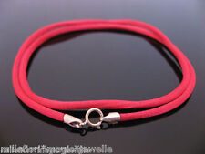 """2.5mm Red Silk Style Cord & 925 Sterling Silver Necklace 16"""" 18"""" 20"""" 22"""" 24"""" etc"""