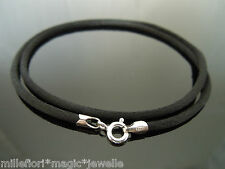"""2.5mm Black Silk & Sterling Silver Necklace Or Wristband 16"""" 18"""" 20"""" 22"""" 24"""""""