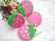 1 Red Pink Strawberry Fruits Bag Change Purse Coin Case Wallet Pocket Handbag