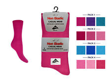 6 Pair Ladies Non Elastic Loose Top Casual COTTON Socks size 4/6 All Colours
