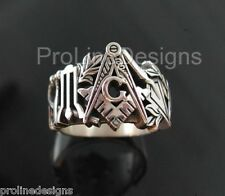 STERLING SILVER .925 MASONIC RING #002 Oxidized Finish Blue Lodge
