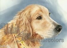 Golden Retriever Dog Art Print Watercolor Painting Judith Stein Signed WHISPER