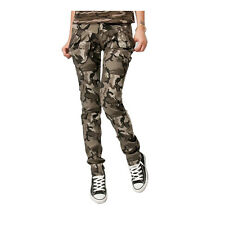 New Women Desert Camouflage Slim Fit Cargo Jeans Military Casual Pants Trousers