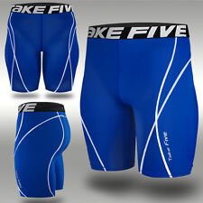 New 048 Mens Sports Skin Tight Compression Base Under Layers Shorts Blue