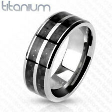 Solid Titanium Carbon Fiber Inlay with Slit Center Band Ring