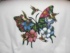 FLOWER BUTTERFLY AND HUMMING BIRD  Sweatshirt New Without TagsSizes S-4XL