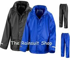 Childs Waterproof Jacket+Trousers Suit Rainsuit Kids Childrens Boys Girls 3-12yr