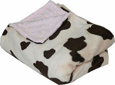 Lil' Cub Hub, Multi-Purpose Blanket for Girls-Cow Pink Minky