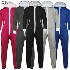UNISEX MENS WOMENS HOODED ZIP ONESIE PLAYSUIT PLAIN ALL IN ONE PIECE JUMPSUIT