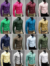 New 2014 Mens Solid Formal Casual Slim-Fit Active Dress Shirt-Full Styles
