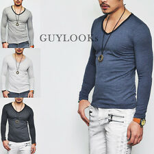 Smart-casual Mod Must-have Mens Slim Fit Micro Stripe V-neck Tee By Guylook