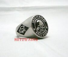0%er No Club Independent Free Rider Biker Skull Ring