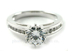 18K WHITE GOLD CHANNEL DIAMOND ENGAGEMENT RING SOLITAIRE SETTING