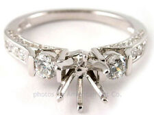 18K WHITE GOLD 3 STONE PAVE DIAMOND ENGAGEMENT RING SOLITAIRE SETTING