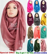 Big Large Oversize Maxi Plain Viscose Scarf Hijab Shawl Scarf Wrap Wide Soft L&H