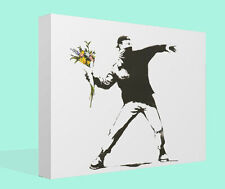 Banksy Graffiti Canvas Print Wall Art Premium Flower Thrower Picture Framed