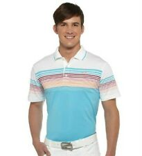 PUMA Rickie Fowler Mens Golf Colorblock Stripe Tech Polo pic size NWT Blue