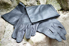 MEDIEVAL/GOTHIC/LARP/SCA/Steampunk/Cosplay BLACK LEATHER RIDING-NOBLEMAN GLOVES