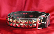 Studded Leather Belt – 2 row pyramid studs