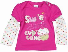 GIRLS PINK LONG SLEEVE TOP 'SWEET LIKE A CUP CAKE' 18-24,2-3,3-4,4-5, 5-6 YEARS