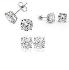 Stud Earrings- 3 mm, 4mm, 5mm- 925 Sterling Silver CZ Stone Prong Setting