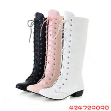 Women's Comfort LOW Heel Knee High Boots Lace Up New zip Shoes AU All Sz YB470