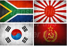 SOUTH AFRICAN JAPANESE KOREAN SOVIET FLAG LOT IRON ON TSHIRT TRANSFER OR STICKER