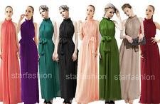 Ruffle Neck Pleated Wedding Party Evening Gown Cocktail Maxi Long Beach Dress